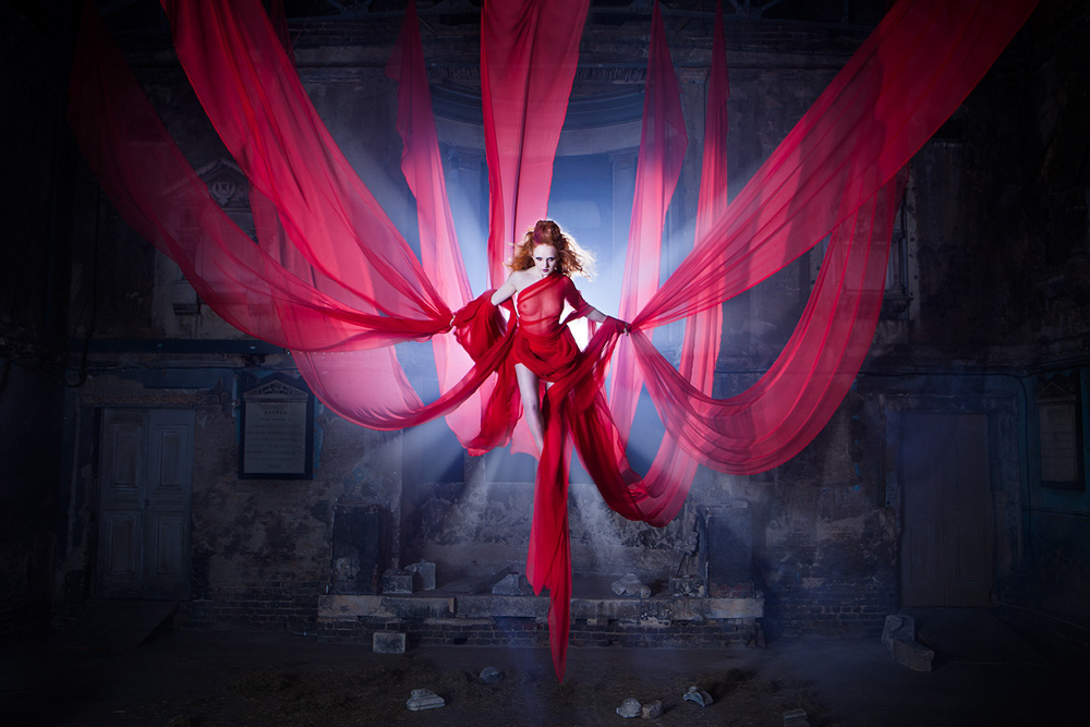 Photographer - Ashley Cameron<br /> Model - Ivory Flame<br /> Make Up Artist - Michelle Court<br /> Hair Stylist - Margarida Marinho<br /> <br /> Not a photomanipulation! Indeed I was tied up in a flying harness inside an old chapel :-)