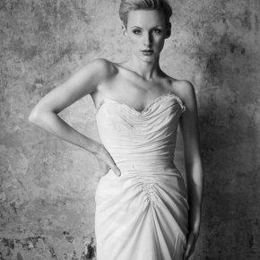 Nude silk chiffon gown